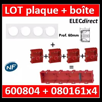 Legrand Dooxie - Plaque 4 postes + Boîte Batibox Legrand 4 postes prof. 60mm - Hor/vert - 600804+080161x4
