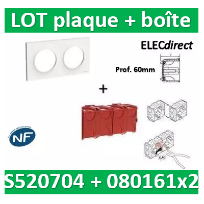 Schneider Odace - Plaque 2 postes + Boîte Batibox à sceller Legrand 2 postes - Hor/vert - s520704+080161x2