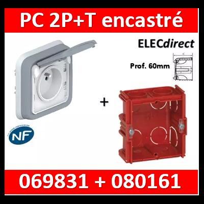 Legrand Plexo - Prise de courant encastré + boîte Batibox - Prof. 60mm - IP55/IK07 - 069831+080161