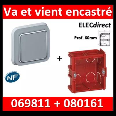 Legrand Plexo - Va-et-Vient encastré + boîte Batibox - IP55/IK07 - 069811+080161