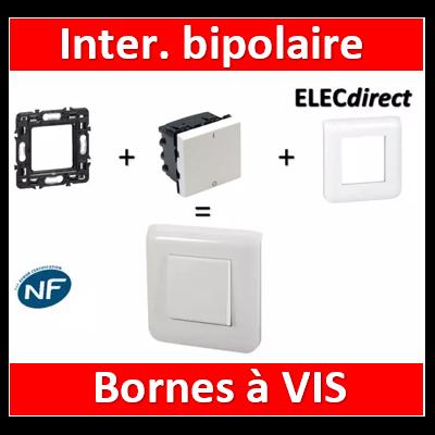 Legrand Mosaic - Interrupteur bipolaire - 2 modules - 20A - 230V complet - 077050+080251-078802