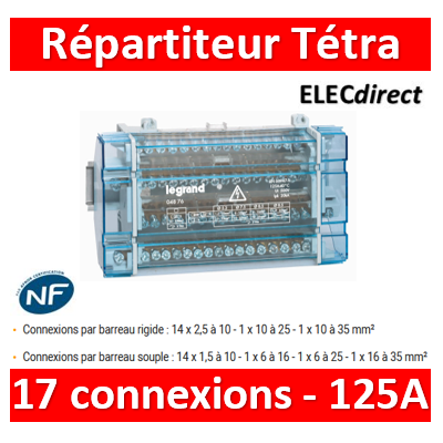 Legrand - Répartiteur 17 connexions - 10 modules - 125A - 004876