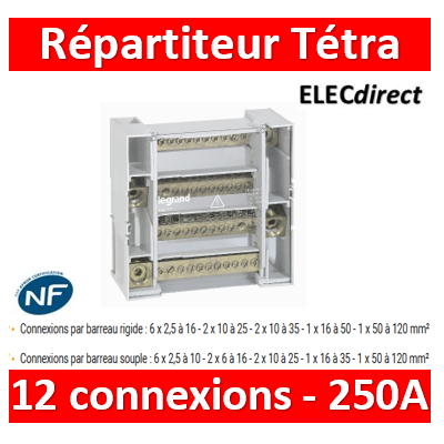Legrand - Répartiteur 12 connexions tétra - 9 modules - 250A - 004877