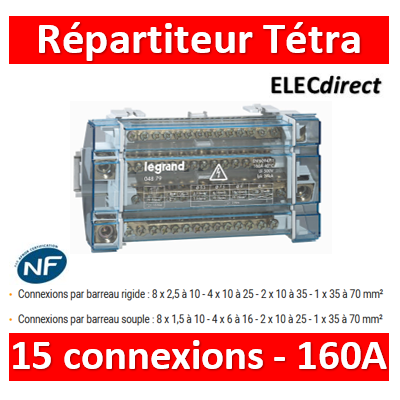 Legrand - Répartiteur 15 connexions - 10 modules - 160A - 004879