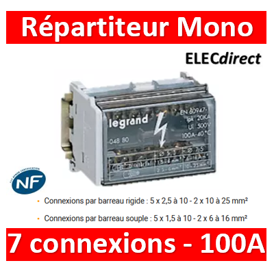 Legrand - Répartiteur MONO - 7 connexions - 4 modules - 100A - 004880