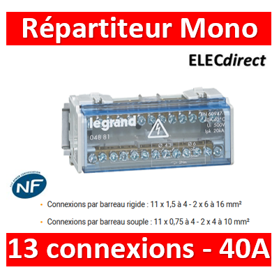 Legrand - Répartiteur MONO - 13 connexions - 6 modules - 40A - 004881