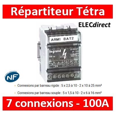 Legrand - Répartiteur tetra- 7 connexions - 4 modules - 100A - 004884