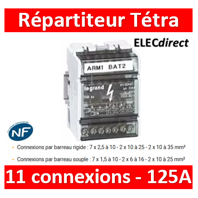Legrand - Répartiteur 11 connexions - 6 modules - 125A - 004886
