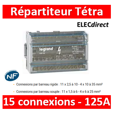 Legrand - Répartiteur Tetra- 15 connexions - 8 modules - 125A - 004888