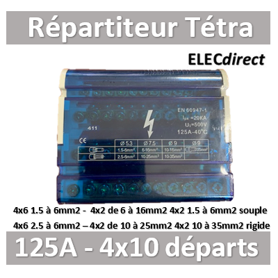 Digital Electric - Répartiteur 125A 4x10 départs - Tétra 400V - 41524