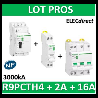 Schneider - contacteur heures creuses - 4NO 25A + DPN 2A + Disjoncteur 16A 4P - R9PCTH4+R9PFC602+R9PFC716