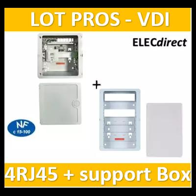Casanova - Coffret sans porte VDI Grade 1 avec brassage - 4 RJ45 - 3 TV + support BOX + porte - CTRIETG14X+ZA375C+PCST375+PCST250