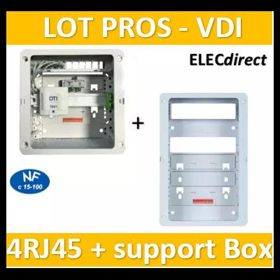 Casanova - Coffret sans porte VDI Grade 1 avec brassage - 4 RJ45 - 3 TV + support BOX - CTRIETG14X+ZA375C