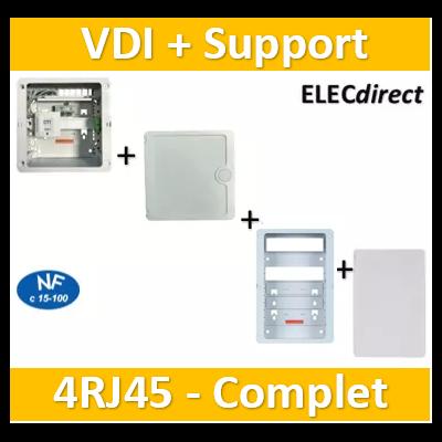 Casanova - Coffret sans porte VDI Grade 1 avec brassage - 4 RJ45 - 3 TV + support BOX + porte complet