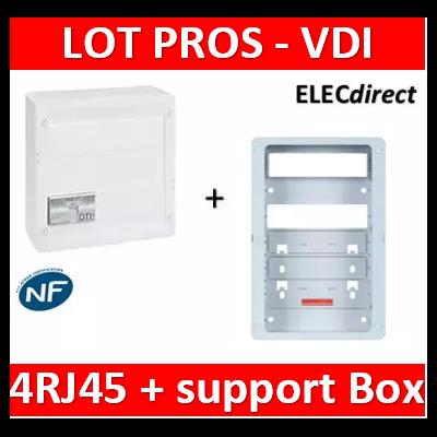 Legrand - Coffret VDI GRADE 2 - 4 RJ45 + support BOX Casanova - 413248+ZA375C