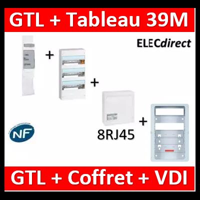 Legrand - Kit GTL 13M complet + tableau 39M + VDI 8RJ45 + support - 030037+401213+413248+413083x4+ZA375C