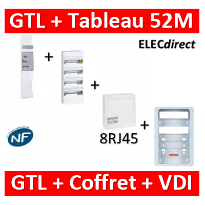 Legrand - Kit GTL 13M complet + tableau 52M + VDI 8RJ45 - 030037+401214+413248+413083x4+ZA375C
