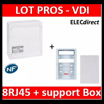 Legrand - Coffret VDI GRADE 2 - 8 RJ45 + support BOX Casanova + porte - 413248+413083x4+ZA375C+PCST375