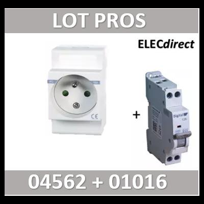 PC modulaire 2P+T 16A DIGITAL + disjoncteur 16A - 04562 + 01016