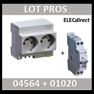 DIGITAL ELECTIRC - LOT PROS - 2xPC 2P+T Modulaire précâblé DIGITAL + disjoncteur 20A - 04564+01020