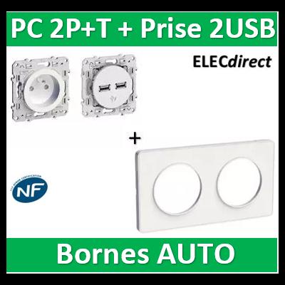 Schneider Odace - PC 2P+T + Prise 2 USB + plaque - complet - 250V - s520804+s520059+s520407