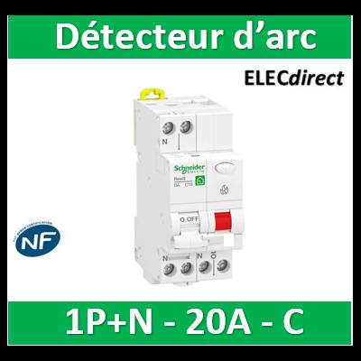 Schneider - Resi9 XP - disjoncteur détecteur d'arc - 1P+N - 20A - courbe C - peignable - R9PTC620