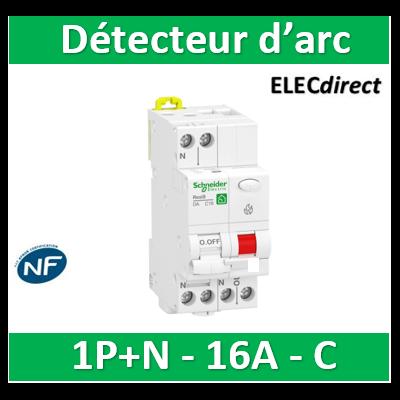 Schneider - Resi9 XP - disjoncteur détecteur d'arc - 1P+N - 16A - courbe C - peignable - R9PTC616