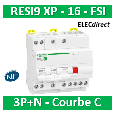 Schneider - Resi9 XP - disjoncteur différentiel - 3P+N - 16A - 30mA - courbe C - type Asi - R9PDCS16