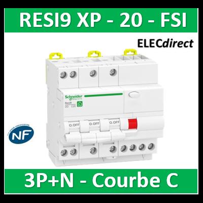 Schneider - Resi9 XP - disjoncteur différentiel - 3P+N - 20A - 30mA - courbe C - type Asi - R9PDCS20