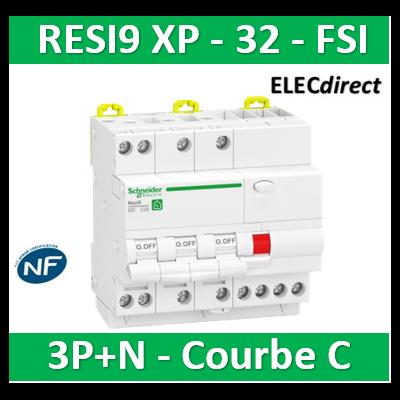 Schneider - Resi9 XP - disjoncteur différentiel - 3P+N - 32A - 30mA - courbe C - type Asi - R9PDCS32