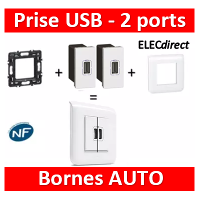 Legrand Mosaic - Prise USB - 2 ports - complet - 080251+078802+077591x2