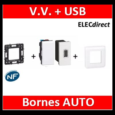 Legrand Mosaic - Va et vient + Prise USB - 1 port - complet - 080251+078802+077591+077001