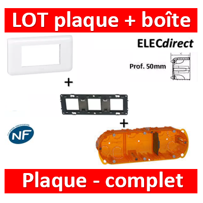 Legrand Mosaic - Plaque 6 modules + support + boîte batibox 3 postes - horizontal - 078816+080253+080123
