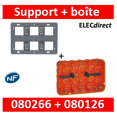 Legrand - support + boîte batibox - Blanc - 080126+080266