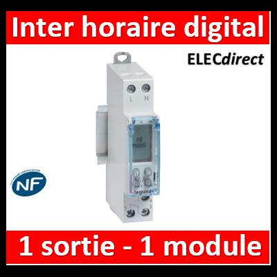 Legrand - Interrupteur horaire modulaire programmable journalier et hebdomadaire standard 230V~ 1 sortie 16A - 1 module - 412681