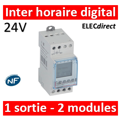 Legrand - Interrupteur horaire digital modulaire programmable journalière ou hebdomadaire - 1 sortie 16A 24V~ alimentation 24V~ - 412633