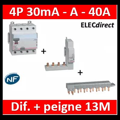 LEGRAND - Interrupteur différentiel DX3-ID 4P 40A - 30mA - A + module 4P - 411675+406301+405201