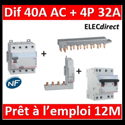 LEGRAND - dif. DX3-ID 4P 40A - 30mA - AC + Module 4P + Peigne 12M + Disj. 4P 32A - 411661+406301+405201+406913