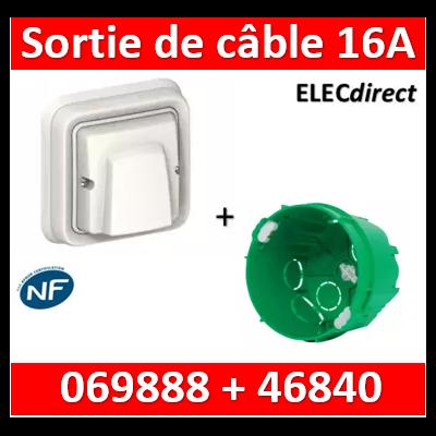 Legrand Plexo - Sortie de câble encastré - 16A - 230V - IP55/IK08 - Blanc + boîte SIB - 069888+46840