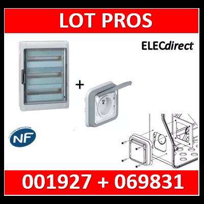Legrand - Coffret Plexo 4x18 modules avec embouts à perf. directe + PC- IP 65 - IK 09 - Gris - 001927+069831
