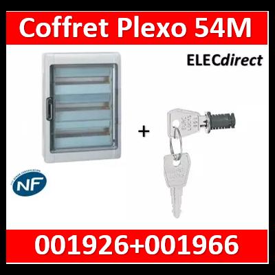 Legrand - Coffret étanche Plexo 54 modules - 3 rangées - IP65/IK09 + serrure- 001926+001966
