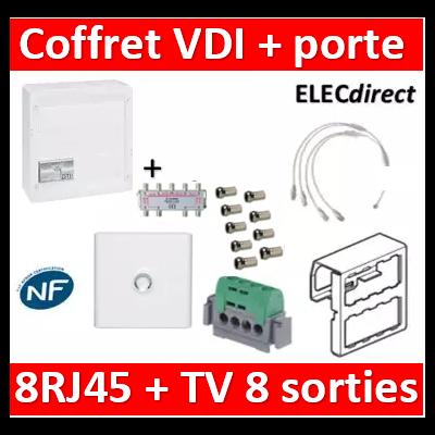 Legrand - Coffret VDI GRADE 2 avec brassage STP - 8 RJ45 / TV 8 sorties - 413248+SN8+9 fiches F+413083+40133