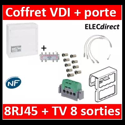 Legrand - Coffret VDI GRADE 2 avec brassage STP - 8 RJ45 / TV 8 sorties - 413248+SN8+9 fiches F+413083
