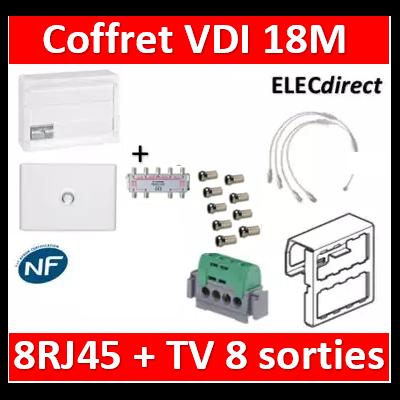 Legrand - Coffret VDI GRADE 2 avec brassage 18M STP - 8 TV - 8 RJ45 - 418248+S8NW+9 fiches+413083+401231