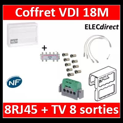 Legrand - Coffret VDI GRADE 2 avec brassage 18M STP - 8 TV - 8 RJ45 - 418248+S8NW+9 fiches+413083