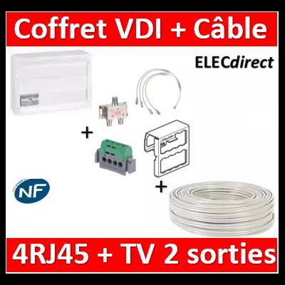 Legrand - Coffret VDI GRADE 2 avec brassage 18M STP - 4 RJ45 - 418248+câble TV 100M