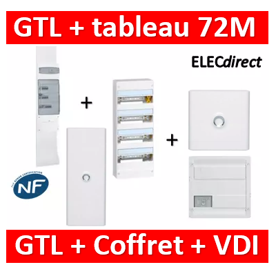 Legrand - Kit GTL 18M complet + tableau 72M + VDI 4RJ45 + porte - 030067+401224+418248+401231+401234