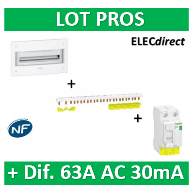 Schneider - Coffret électrique PRAGMA - encastré - 13M - 1R de 13M + peignes + dif. 63A AC 30mA - PRA32113+R9PXH213+R9PRC263