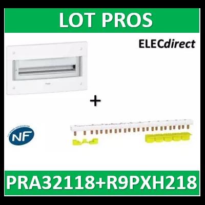 Schneider - Coffret électrique PRAGMA - encastré - 2R de 18M + peigne 18M - PRA32118+R9PXH218