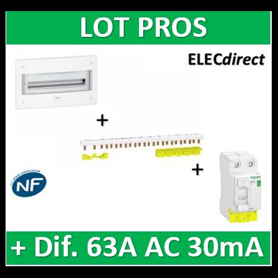 Schneider - Coffret électrique PRAGMA - encastré - 2R de 18M + peigne 18M dif 63A AC 30mA - PRA32218+R9PXH218+R9PRC263